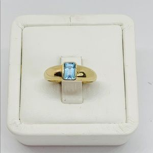 Real 14k Solid Women's Ring Aquamarine Blue Size 7